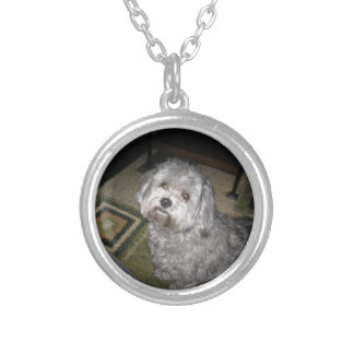 Maltipoo- Corky Silver Plated Necklace