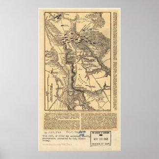 Malvern Hill Battle Map Poster