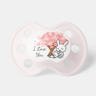 Mama and Baby Bunny, I Love You, Pink Pacifier
