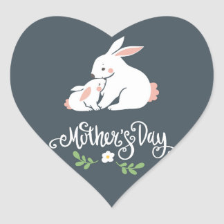 Mama and Baby Bunny Mother's Day Heart Sticker