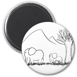 Mama and Baby Elephants 2 Inch Round Magnet