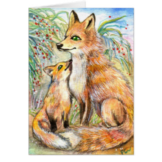 Mama And Baby Fox Card