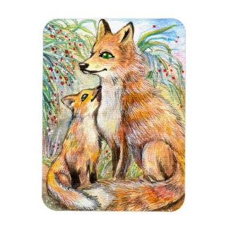 Mama And Baby Fox Magnet