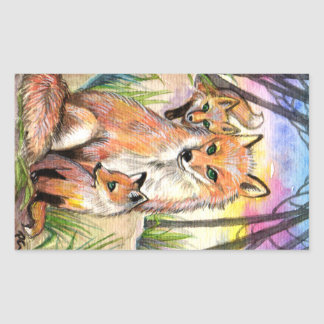 Mama And Baby Foxes Sticker
