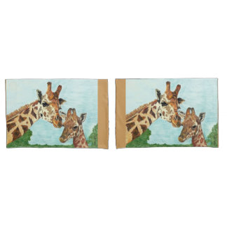 Mama and Baby Giraffe Pillow Cases