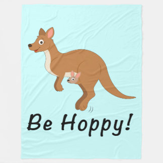 Mama and Baby Kangaroo: Be Hoppy! Fleece Blanket