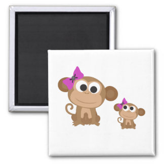 Mama and baby monkey square magnet