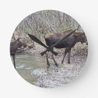 Mama and Baby Moose Clocks