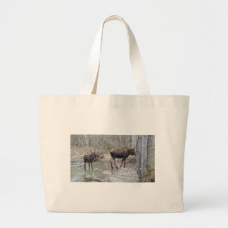 Mama and Baby Moose Large Tote Bag