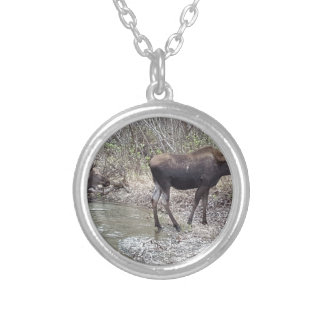 Mama and Baby Moose Silver Plated Necklace