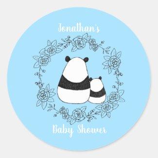 Mama and Baby Panda Cute Animal Baby shower favor Classic Round Sticker