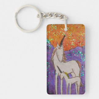 Mama and baby unicorn keychain