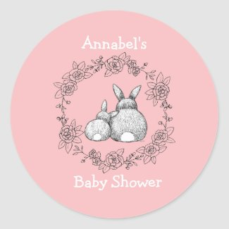 Mama & Baby Bunny Baby Shower invites or favor Classic Round Sticker