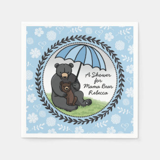 Mama Bear and Cub, Personalized Baby Shower Boy Paper Napkin