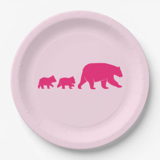 Mama Bear and Cubs Birthday Paper Plate