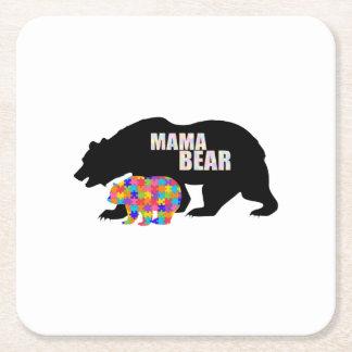 Mama Bear Autism Awareness Suppor Square Paper Coaster