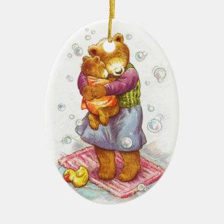 Mama Bear Hug Ceramic Oval Ornament