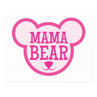 mama bear in teddy head postcard