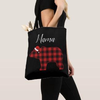 Mama Bear Lovely Buffalo Plaid Tote Bag