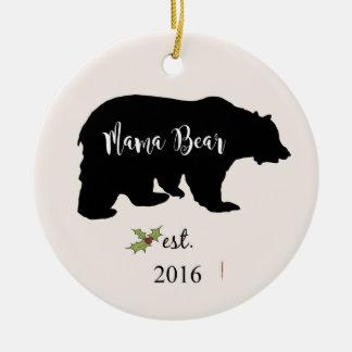 mama bear ornament, mom christmas ornament, round ceramic ornament