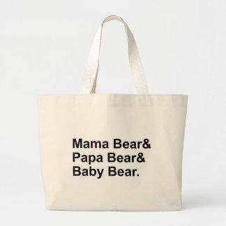 Mama Bear, Papa Bear, Baby Bear   Goldilocks Jumbo Tote Bag