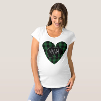 Mama Bear Rustic Green Plaid Heart Maternity T-Shirt