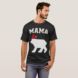 Mama Bear With Santa Hat Christmas Pajama Matching T-Shirt