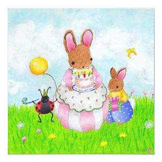 "mama bunny with cake 5.25"" square invitation card"