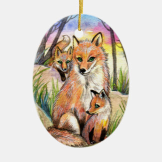 Mama Fox And Baby Foxes At Sunset Woods Ceramic Oval Ornament