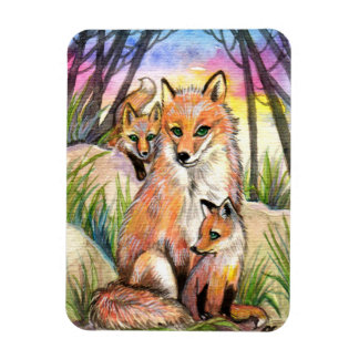 Mama Fox and Baby Foxes in Sunset Woods Magnet