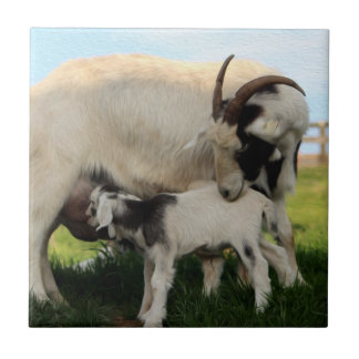 Mama Goat & Nursing Kid Fine Art Ceramic Tile