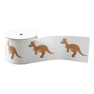 Mama Kangaroo and Baby 3 In. Grosgrain Ribbon