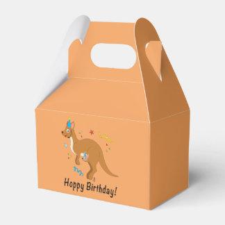 Mama Kangaroo and Baby in Birthday Hats Favor Box