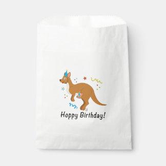 Mama Kangaroo and Baby in Birthday Hats Favour Bag