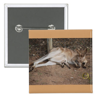 Mama Kangaroo with Joey in Pouch 2 Inch Square Button