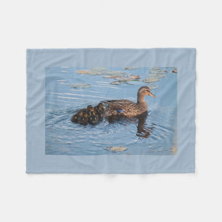 Mama mallard and her ducklings fleece blanket