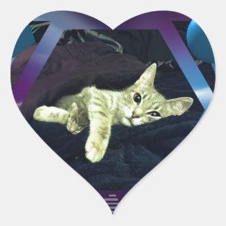 Mama Mimi & her Baby Kitties Heart Sticker