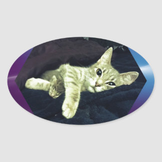 Mama Mimi & her Baby Kitties Oval Sticker