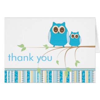 Mama Owl & Baby Owl in Blue Thank You Note Card
