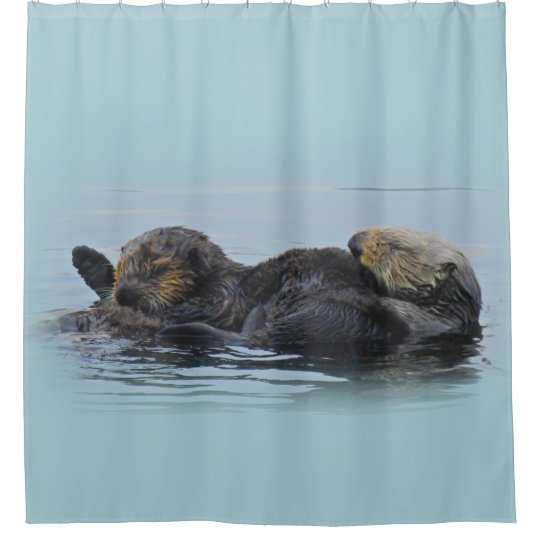 Mama Sea Otter and Her Babe, Shower Curtain