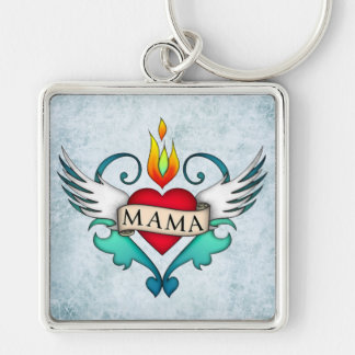 Mama Silver-Colored Square Keychain