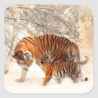 Mama Tiger and Baby Tiger in Snow Sticker
