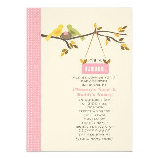 Maman de baby shower d'automne et oiseaux et nid carton d'invitation  13,97 cm x 19,05 cm