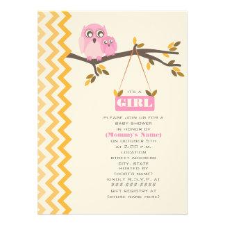 Maman de baby shower de fille d automne et hibou d invitations personnalisables