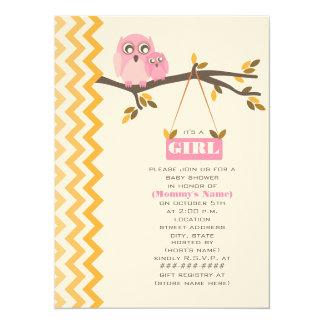 Maman de baby shower de fille d'automne et hibou carton d'invitation  13,97 cm x 19,05 cm