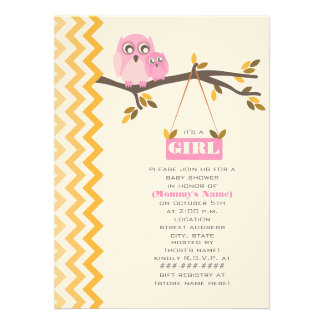 Maman de baby shower de fille d'automne et hibou d invitations personnalisables