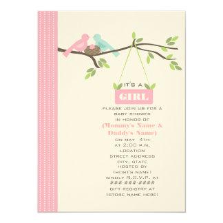 Maman de baby shower et oiseaux et nid roses de carton d'invitation  13,97 cm x 19,05 cm