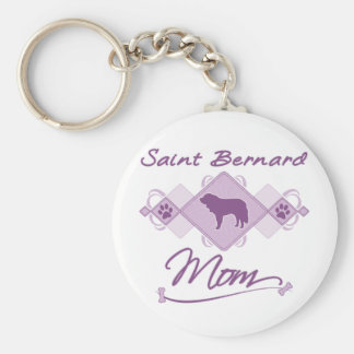 Maman de St Bernard Porte-clé Rond