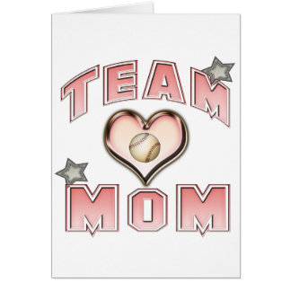Maman d'équipe de baseball cartes de vœux