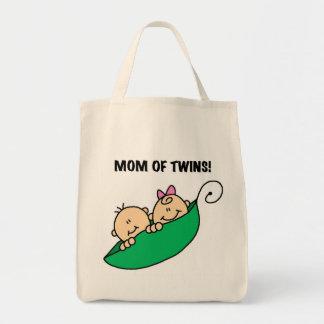 Maman des Jumeau-Pois en T-shirts et cadeaux d'une Sac En Toile Épicerie